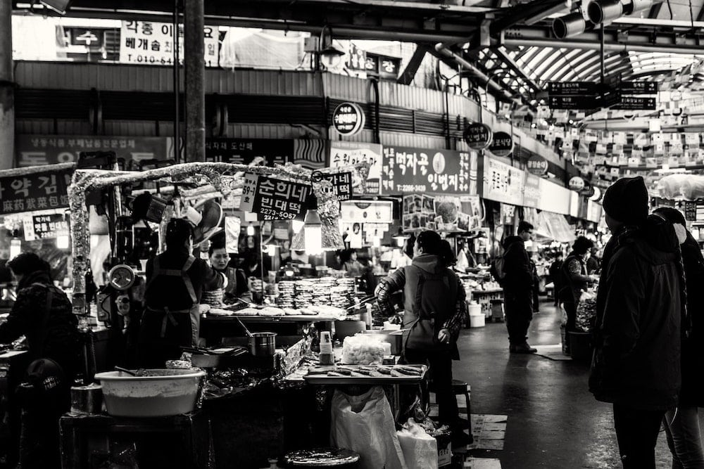 A crowded outside market in Asia